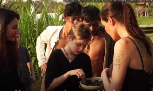Αηδιαστικό: Η Angelina Jolie μαγειρεύει και τρώει με τα παιδιά της αράχνες και έντομα στην Καμπότζη!(vid)